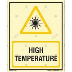 High Temperature Warning Glow Sign in Portrait
