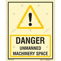 Autoglow Unmanned Machinery Space Danger Sign in Portrait