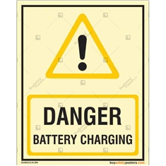 Autoglow Battery Charging Danger Sign in Portrait