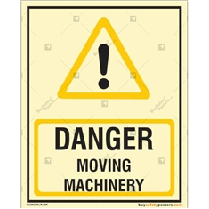 Moving Machinery Danger Glow Sign in Portrait