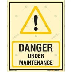 Under Maintenance Danger Glow Sign in Portrait