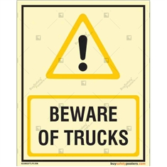 Beware of Trucks Caution Sign in Portrait