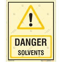 Solvents Danger  Glow Sign in Portrait
