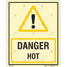 Hot Danger Glow Sign in Portrait
