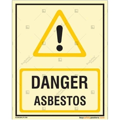 Asbestos Danger Glow Sign in Portrait