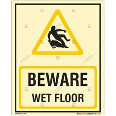 Beware Wet Floor Glow signs in Portrait