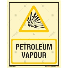 Petroleum Vapour Warning Auto Glow Sign in Portrait