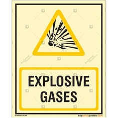 Explosive Gases Auto Glow Sign in Portrait