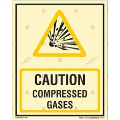 Caution Compressd Gases Auto Glow Sign in Portrait