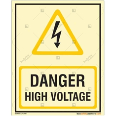 Danger High Voltage Glow in the dark Sign in Portrait