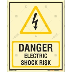 Danger Electric Shock Risk Auto Glow Sign in Portrait