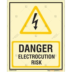 Danger Electrocution Risk Glow Sign in Portrait