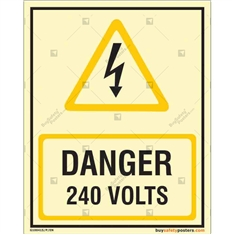 Danger 240 Volts Auto Glow Sign in Portrait