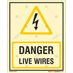 Danger Live Wires Auto Glow Sign in Portrait