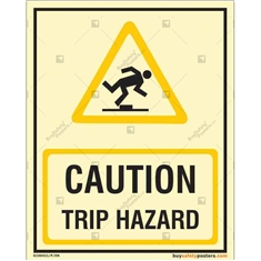 Caution Trip Hazard Glow Sign in Portrait
