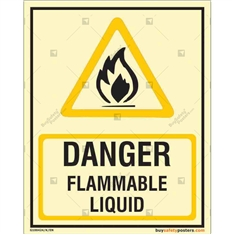 Danger Flammable Liquid Glow in the dark Sign n Portrait