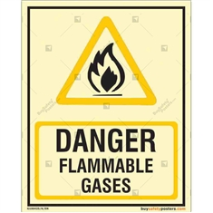Danger Flammable Gases Glow in the dark Sign in Portrait