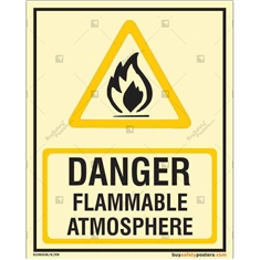 Danger Flammable Atmosphere Glow Sign in Portrait