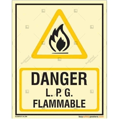 Danger LPG Flammable Glow in the dark Sign  in Portrait