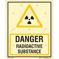 Danger Radiaoactive Susbstance Glowing Sign  in Portrait