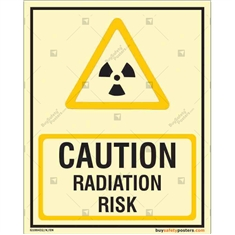 Danger Radiation Risk Glow in the dark Sign in Portrait