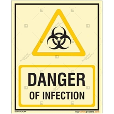 Danger of Infection Auto Glow Sign in Portrait