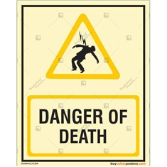 Danger of Death Auto Glow Sign in Portrait