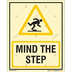 Mind the Step Auto Glow Sign in Portrait