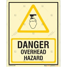 Danger Overhead Hazard Glowing Sign in Portrait