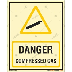 Danger Compressed Gas Glowin the dark Sign in Portrait