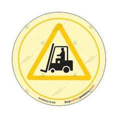 Forklift in Use Auto Glow Sign in Round