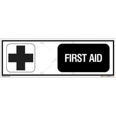 First Aid Sign in Rectangle