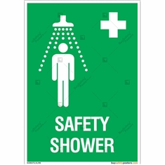 Safety Shower Sign in Portrait
