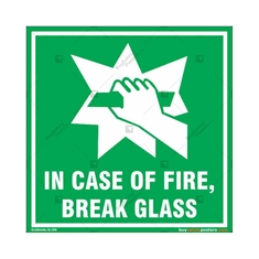 In Case of Fire, Break Glass Emergency Sign in Square