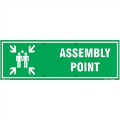 Assembly Point Sign in Rectangle