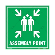 Assembly Point Sign in Square