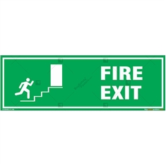 Fire Exit Door Sign in Rectangle