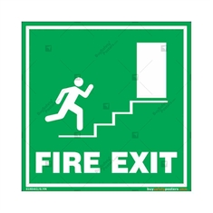 Fire Exit Door Sign in Square