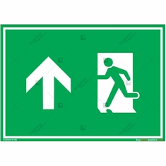 Emergency Exit Signs with Up Arrow in Landscape