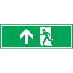 Emergency Exit Signs with Up Arrow in Rectangle