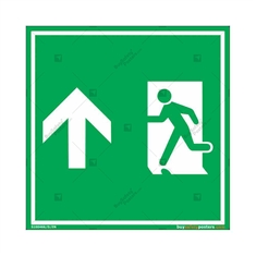 Emergency Exit Signs with Up Arrow in Square