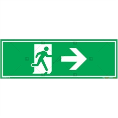 Emergency Exit Signs with Right Arrow in Rectangle