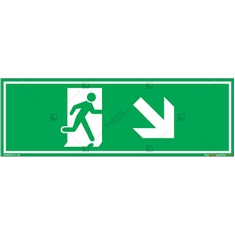 Down Right Exit Sign in Rectangle