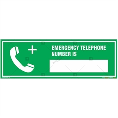 Emergency Telephone Number Sign in Rectangle