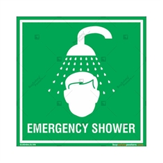 Emergency Shower Sign in Square