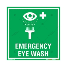 Emergency Eye Wash Sign in Square