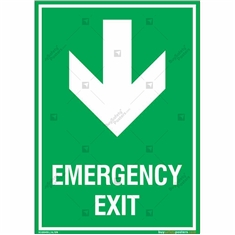 Emergency Exit Signs with Down Arrow in Portrait