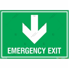 Emergency Exit Signs with Down Arrow in Landscape
