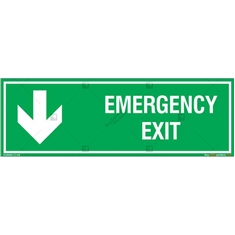 Emergency Exit Signs with Down Arrow in Rectangle
