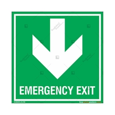 Emergency Exit Signs with Down Arrow in Square